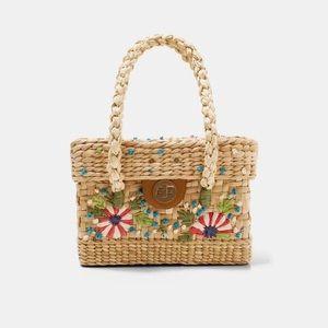 Zara embroidered box bag